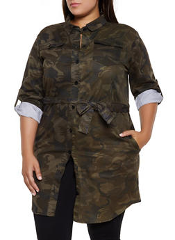 Plus Size Belted Camo Button Front Tunic Top - 3876063409090