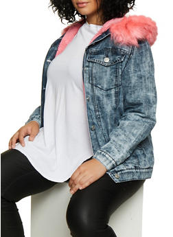 Plus Size Sherpa Lined Denim Jacket - 3876063409393