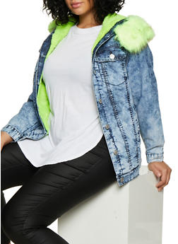 Plus Size Sherpa Lined Denim Jacket - NEON YELLOW - 3876063409393