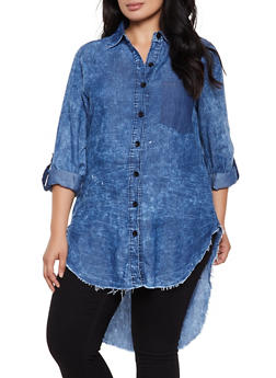 Plus Size High Low Frayed Chambray Shirt - 3876063409696