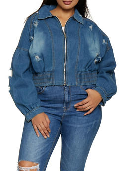 Plus Size Distressed Cropped Denim Jacket - 3876063409923