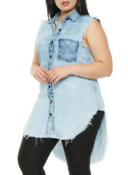 Plus Size Frayed Chambray High Low Shirt - 3876063409933