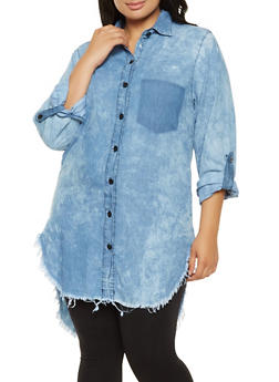 Plus Size Chambray High Low Shirt - 3876063409993