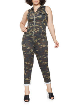 Plus Size VIP Zip Up Camo Jumpsuit - 3876065302665