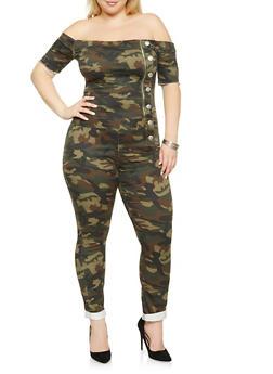 Plus Size VIP Off the Shoulder Camo Jumpsuit - 3876065308553