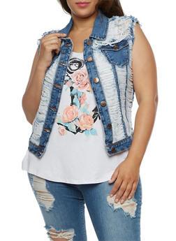 Plus Size Destroyed Denim Vest with Lace Detail - 3876065309072