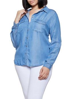 Plus Size Two Pocket Chambray Shirt - 3876069390179