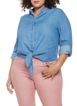 Plus Size Tie Front Chambray Shirt - 3876069391108