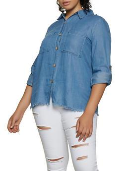 Plus Size Frayed Hem Chambray Shirt - 3876069393188