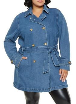 Plus Size Tie Waist Denim Trench Coat | 1X - 3876071314930