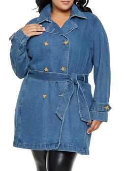 Plus Size Tie Waist Denim Trench Coat | 2X - 3876071315930