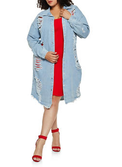 Plus Size Highway Destroyed Denim Duster - 3876071316311