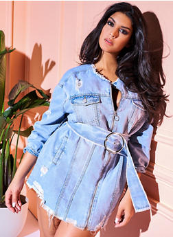 Plus Size Distressed Zip Front Belted Denim Jacket - 3876071316322