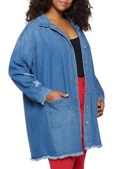 Plus Size Highway Frayed Hem Long Denim Jacket - 3876071316430