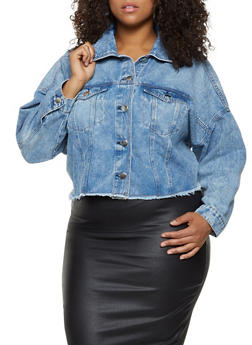 Plus Size Highway Raw Hem Denim Jacket - 3876071317137