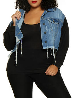 Plus Size Highway Sweatshirt Sleeve Jean Jacket - 3876071317155
