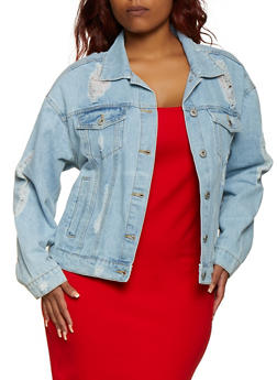 Plus Size Highway Ripped Back Jean Jacket - 3876071317969