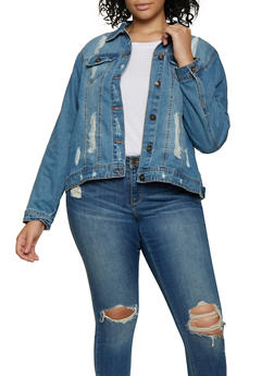 Plus Size Highway Distressed Jean Jacket - 3876071317990