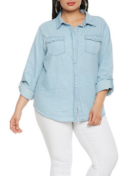 Plus Size Chambray Faux Pearl Button Front Shirt - 3876071318379