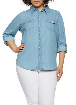 Plus Size Chambray Faux Pearl Button Front Shirt - 3876071318379