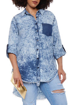 Plus Size Acid Wash High Low Denim Shirt - 3876071318414