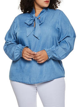 Plus Size Tie Neck Chambray Top - 3876071318461