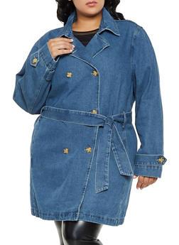 Plus Size Tie Waist Denim Trench Coat | 3X - 3876071318930