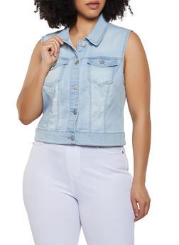 Plus Size WAX Jean Vest - 3876071610001