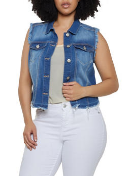 Plus Size WAX Frayed Denim Vest - 3876071619037