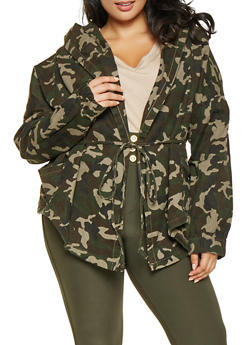 Plus Size Open Front Camo Anorak Jacket - 3876072291001