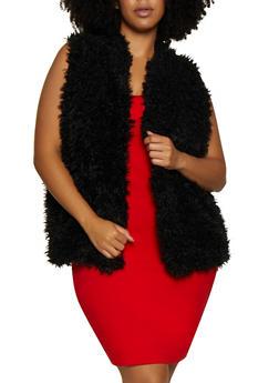 Plus Size Shaggy Faux Fur Vest   3884038340103 - 3884038340103