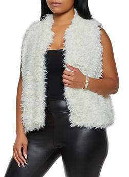 Plus Size Shaggy Faux Fur Vest | 3884038340103 - 3884038340103