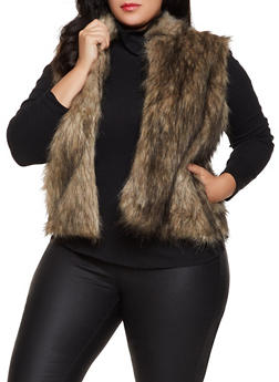 Plus Size Open Front Faux Fur Vest - 3884038340104