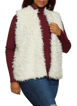 Plus Size Shaggy Faux Fur Vest - 3884038340105