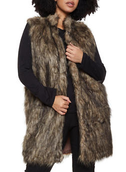 Plus Size Long Faux Fur Vest | 3884038340108 - 3884038340108