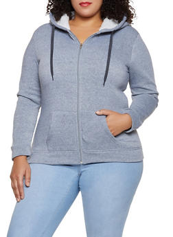Plus Size Sherpa Lined Zip Front Sweatshirt - 3884038344411