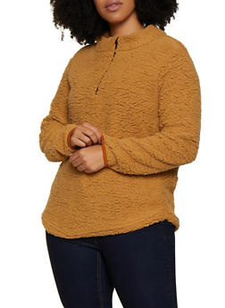 Plus Size Sherpa Zip Neck Top - 3884038344550