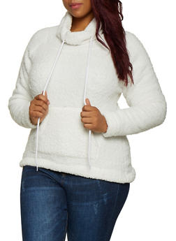 Plus Size Funnel Neck Sherpa Sweatshirt - 3884038344551