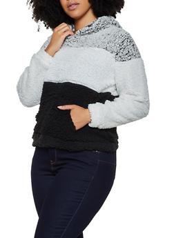 Plus Size Color Block Sherpa Sweatshirt - 3884038344552