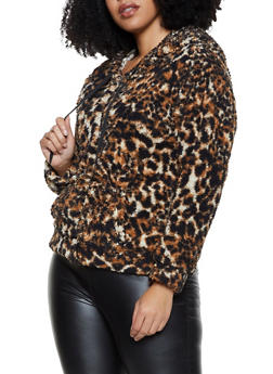 Plus Size Zip Front Sherpa Sweatshirt - 3884038344553