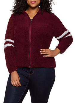 Plus Size Hooded Sherpa Zip Jacket - 3884038344554