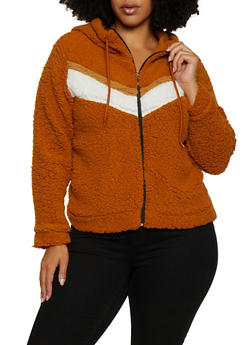 Plus Size Chevron Detail Sherpa Jacket - 3884038344555