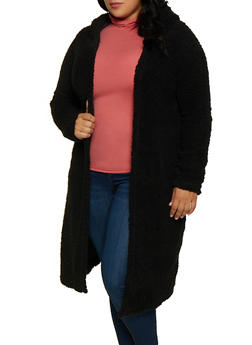 Plus Size Hooded Long Sherpa Jacket - 3884038344556
