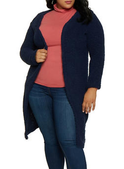 Plus Size Long Sherpa Jacket - 3884038344557