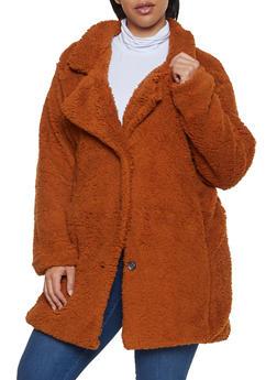 Plus Size Three Button Sherpa Jacket - 3884038344559