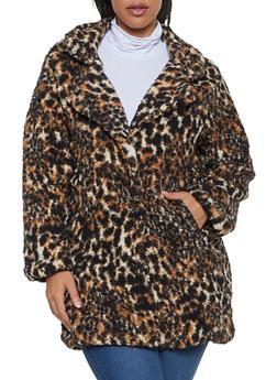 Plus Size Three Button Sherpa Jacket - MULTI COLOR - 3884038344559