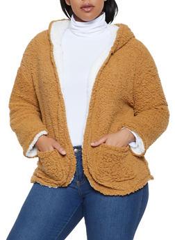 Plus Size Reversible Sherpa Jacket - CAMEL - 3884038344560