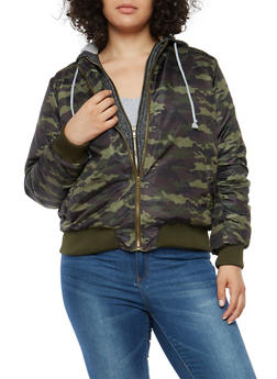 Plus Size Hooded Bomber Jacket - 3884038348087