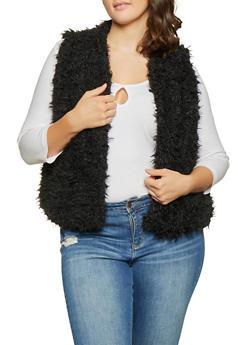 Plus Size Shaggy Faux Fur Vest - BLACK - 3884038349020