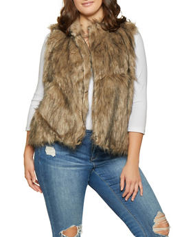 Plus Size Faux Fur Vest - 3884038349021